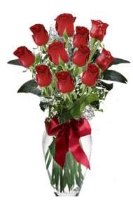 11 adet kirmizi gül vazo mika vazo içinde  Eskişehir 14 şubat sevgililer günü çiçek