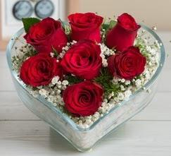 Kalp içerisinde 7 adet kırmızı gül  Eskişehir çiçek gönderme sitemiz güvenlidir