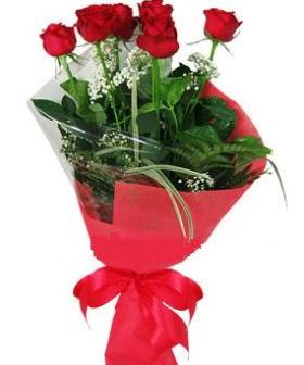 5 adet kırmızı gülden buket  Eskişehir kaliteli taze ve ucuz çiçekler