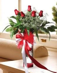 Camda 5 kırmızı gül tanzimi  Eskişehir çiçekçi telefonları