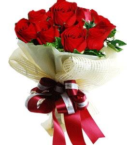 9 adet kırmızı gülden buket tanzimi  Eskişehir çiçek gönderme sitemiz güvenlidir