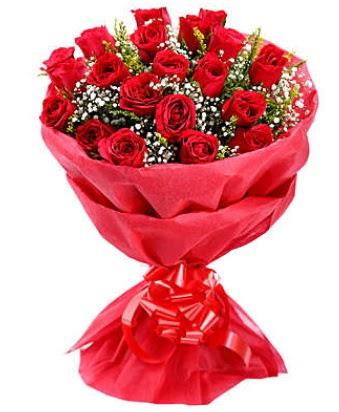 21 adet kırmızı gülden modern buket  Eskişehir çiçek gönderme