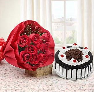 12 adet kırmızı gül 4 kişilik yaş pasta  Eskişehir çiçek , çiçekçi , çiçekçilik