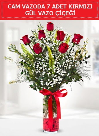 Cam vazoda 7 adet kırmızı gül çiçeği  Eskişehir çiçek gönderme sitemiz güvenlidir