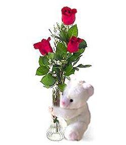 oyuncak ve 3 adet gül  Eskişehir çiçek siparişi sitesi