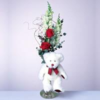 2 adet gül ve panda özel  Eskişehir çiçekçi mağazası