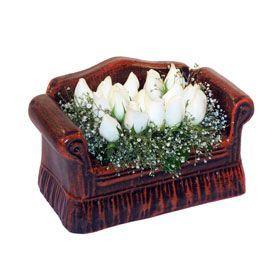 seramik içerisinde 11 gül  Eskişehir hediye çiçek yolla