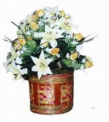 yapay karisik çiçek sepeti   Eskişehir cicekciler , cicek siparisi