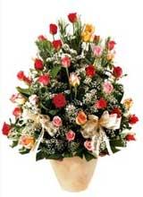 91 adet renkli gül aranjman   Eskişehir çiçek gönderme sitemiz güvenlidir