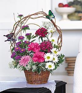 Eskişehir cicekciler , cicek siparisi  sepet içerisinde karanfil gerbera ve kir çiçekleri