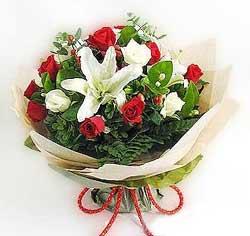 güller ve kazablanklardan görsel bir buket  Eskişehir internetten çiçek satışı