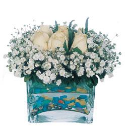 Eskişehir çiçekçi mağazası  mika yada cam içerisinde 7 adet beyaz gül