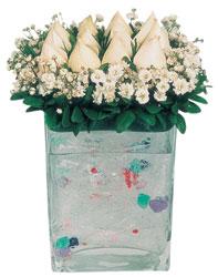 Eskişehir çiçekçi mağazası  7 adet beyaz gül cam yada mika vazo tanzim