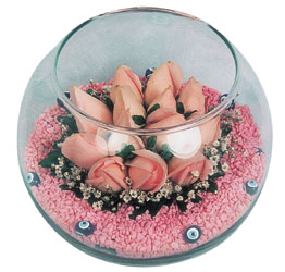 Eskişehir internetten çiçek satışı  cam fanus içerisinde 10 adet gül