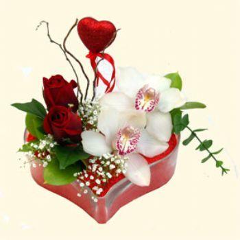 Eskişehir hediye sevgilime hediye çiçek  1 kandil orkide 5 adet kirmizi gül mika kalp