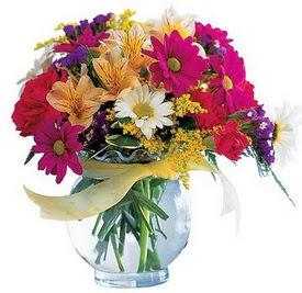 Eskişehir internetten çiçek satışı  cam yada mika içerisinde karisik mevsim çiçekleri