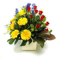Eskişehir online çiçek gönderme sipariş  9 adet gül ve kir çiçekleri cam yada mika vazoda