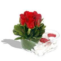 Mika kalp içerisinde 9 adet kirmizi gül  Eskişehir çiçek servisi , çiçekçi adresleri