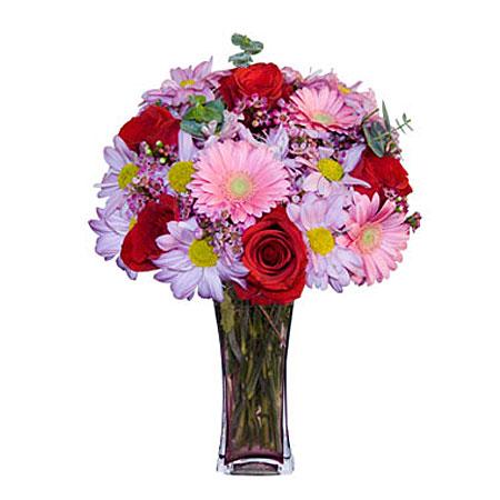 Görsel hediye karisik cam mevsim demeti  Eskişehir çiçekçi mağazası