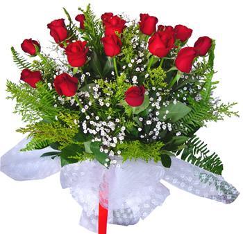 11 adet gösterisli kirmizi gül buketi  Eskişehir internetten çiçek satışı