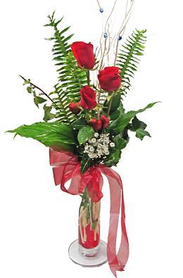 Çiçek gönderin cam vazoda 3 gül çiçekleri  Eskişehir çiçek siparişi sitesi
