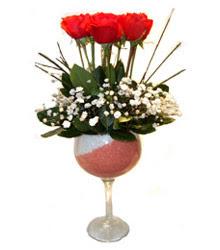 Eskişehir çiçekçiler  cam kadeh içinde 7 adet kirmizi gül çiçek