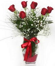 7 adet gülden cam içerisinde güller  Eskişehir 14 şubat sevgililer günü çiçek
