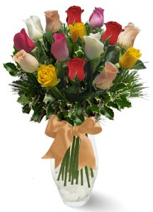 15 adet vazoda renkli gül  Eskişehir internetten çiçek satışı