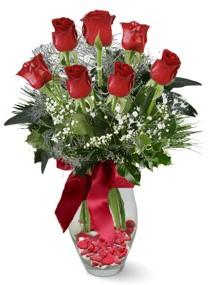 7 adet vazoda gül  Eskişehir internetten çiçek satışı  kirmizi gül