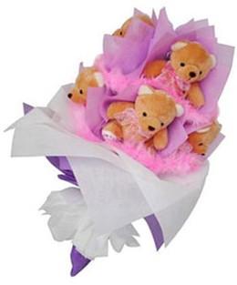 9 adet ayiciktan buket  Eskişehir hediye sevgilime hediye çiçek