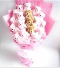 17 adet pelus ayicik buketi  Eskişehir İnternetten çiçek siparişi