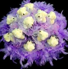 11 adet pelus ayicik buketi  Eskişehir çiçek , çiçekçi , çiçekçilik