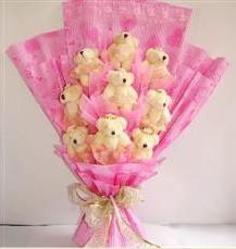9 adet pelus ayicik buketi  Eskişehir anneler günü çiçek yolla