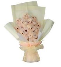 11 adet pelus ayicik buketi  Eskişehir ucuz çiçek gönder