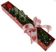 Tek kirmizi gül kutu içerisinde  Eskişehir güvenli kaliteli hızlı çiçek