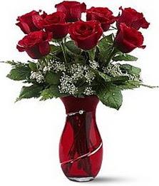 Vazo içinde 8 adet kirmizilar içinde güller  Eskişehir internetten çiçek siparişi