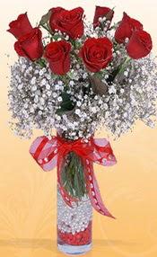 9 adet kirmizi gül cam yada mika vazoda  Eskişehir çiçek mağazası , çiçekçi adresleri