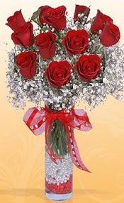 10 adet kirmizi gülden vazo tanzimi  Eskişehir çiçek siparişi sitesi