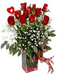 Eskişehir çiçek siparişi vermek  9 adet mika yada cam vazoda gül tanzimi kalp çubuk