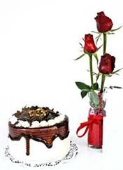 Eskişehir çiçek siparişi vermek  vazoda 3 adet kirmizi gül ve yaspasta