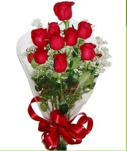 Eskişehir uluslararası çiçek gönderme  10 adet kırmızı gülden görsel buket