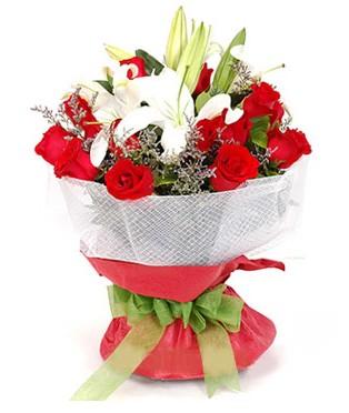 Eskişehir hediye çiçek yolla  1 dal kazablanka 11 adet kırmızı gül buketi