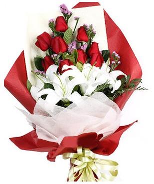 Eskişehir çiçekçiler  1 dal kazablankaa 9 adet kırmızı gül buketi