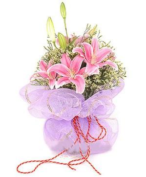 3 dal kazablanka görsel buketi  Eskişehir internetten çiçek satışı