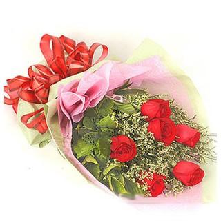 Eskişehir çiçek , çiçekçi , çiçekçilik  6 adet kırmızı gülden buket