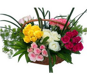 Eskişehir ucuz çiçek gönder  35 adet rengarenk güllerden sepet tanzimi