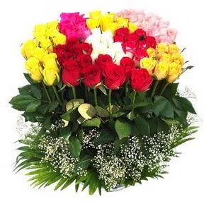 Eskişehir çiçek mağazası , çiçekçi adresleri  51 adet renkli güllerden aranjman tanzimi