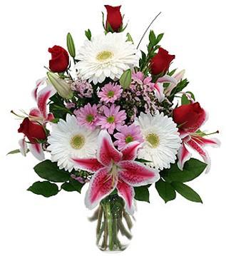 Eskişehir çiçek mağazası , çiçekçi adresleri  1 dal kazablanka 5 gül ve kırçiçeği vazosu