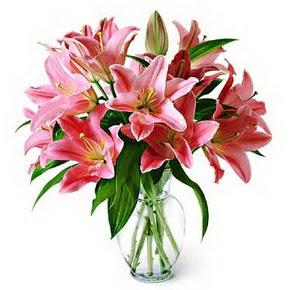 3 dal kazablanka görsel vazosu  Eskişehir internetten çiçek siparişi
