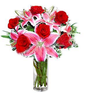 Eskişehir çiçek yolla  1 dal cazablanca ve 6 kırmızı gül çiçeği